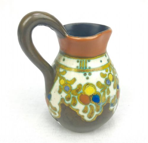 Gouda Pottery Jug / Vase / Art Deco Style / Brown / Yellow / Orange / Antique